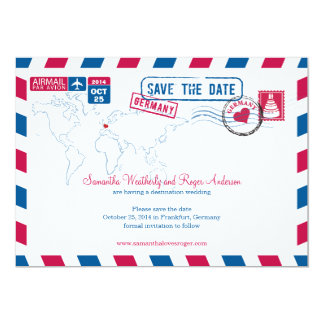 "Germany Air Mail Wedding Save The Date 5"" X 7"" Invitation Card"