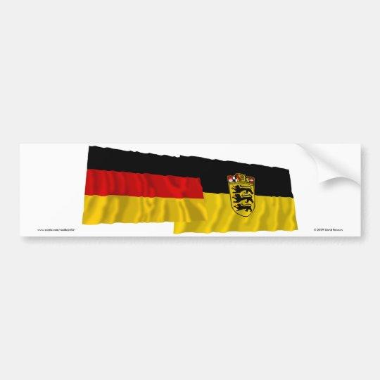 Germany & Baden-Wuerttemberg Waving Flags Bumper Sticker