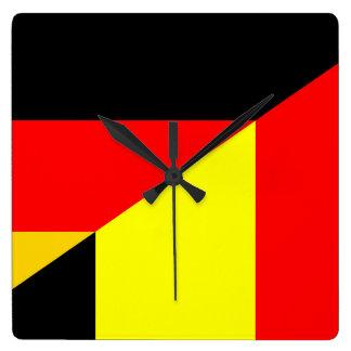 germany belgium half flag country symbol square wall clock