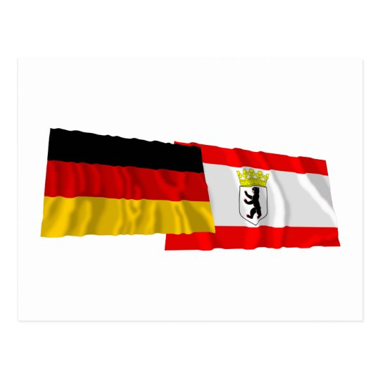 Germany & Berlin Waving Flags Postcard