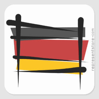 Germany Brush Flag Square Sticker