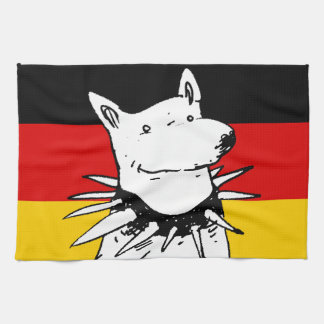 germany flag and white dog with spike collar kitchen towels