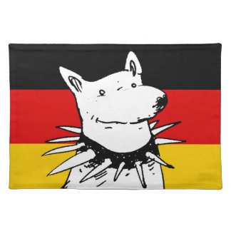 germany flag and white dog with spike collar placemat