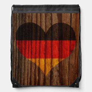 Germany Flag Heart on Wood theme Drawstring Bag