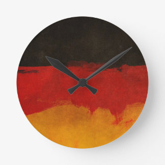Germany Flag Home Country Black Red Gold Round Clock
