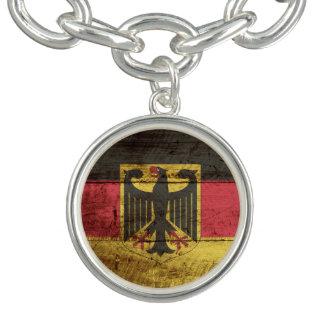 Germany Flag on Old Wood Grain Charm Bracelet
