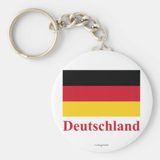Germany Flag with Name in German Basic Round Button Keychain