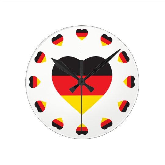 GERMANY HEART SHAPE FLAG WALL CLOCKS