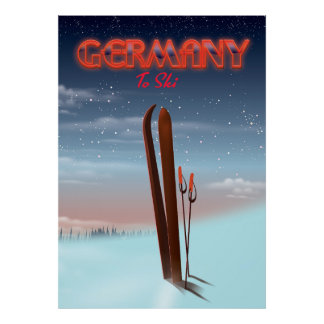 Germany Ice Ski travel poster