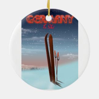 Germany Ice Ski travel poster Ceramic Ornament