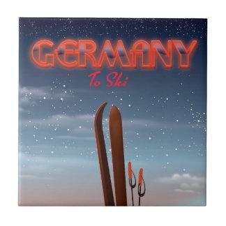 Germany Ice Ski travel poster Tile