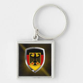 Germany Metallic Emblem Silver-Colored Square Keychain