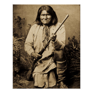 Geronimo with Rifle 1886 Vintage Indian Poster