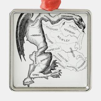 Gerry-Mander Silver-Colored Square Ornament