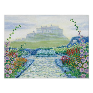 """Gertrude Jekyll Garden with Lindisfarne Castle"" Poster"
