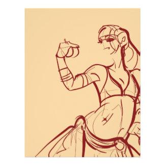 Gesture sketch of tribal fusion bellydancer flyer