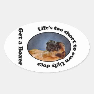 Get a Boxer Oval Sticker