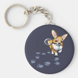"""Get a Clue"" Corgi Basic Round Button Keychain"