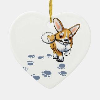 """""""Get a Clue"""" Corgi Ceramic Heart Ornament"""