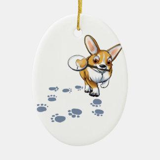 """""""Get a Clue"""" Corgi Ceramic Oval Ornament"""