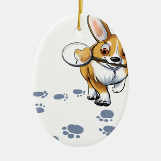 """Get a Clue"" Corgi Ceramic Oval Ornament"