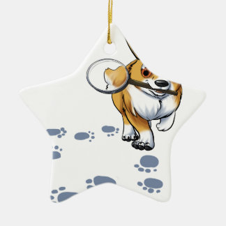 """Get a Clue"" Corgi Ceramic Star Ornament"