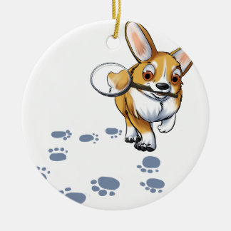 """Get a Clue"" Corgi Round Ceramic Ornament"