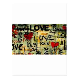 Get A Little Love Graffiti Postcard
