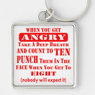 Get Angry Punch Them In The Face On #8 Silver-Colored Square Keychain
