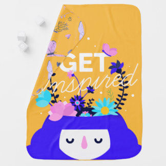 Get inspired nature girl colorful illustration baby blankets