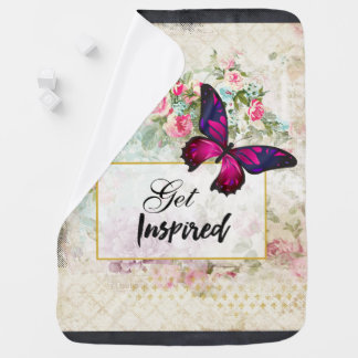 Get Inspired Quote & Pink Butterfly Shabby Collage Baby Blanket