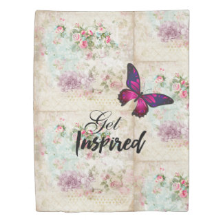Get Inspired Quote & Pink Butterfly Shabby Collage Duvet Cover