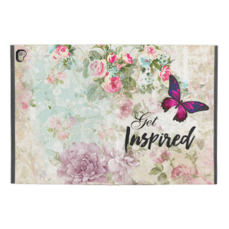 "Get Inspired Quote & Pink Butterfly Shabby Collage iPad Pro 9.7"" Case"