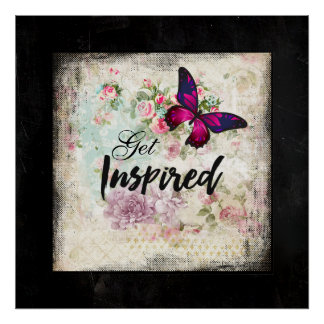 Get Inspired with Pretty Butterfly Vintage Collage Poster