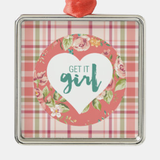 Get It Girl Pink and Teal Hearts Flowers Plaid Silver-Colored Square Ornament