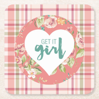 Get It Girl Pink and Teal Hearts Flowers Plaid Square Paper Coaster