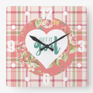 Get It Girl Pink and Teal Hearts Flowers Plaid Square Wall Clock