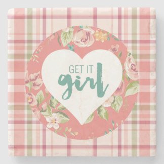 Get It Girl Pink and Teal Hearts Flowers Plaid Stone Coaster