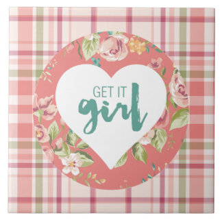 Get It Girl Pink and Teal Hearts Flowers Plaid Tile