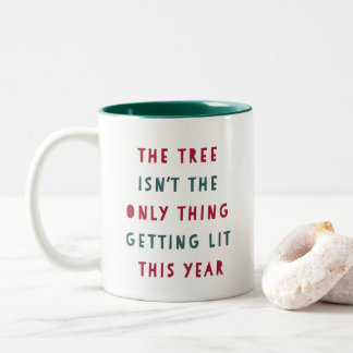 Get Lit | Funny Christmas Two-Tone Coffee Mug