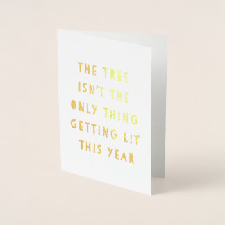 Get Lit | Gold Foil Funny Christmas Card
