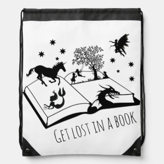 Get Lost in a Book Drawstring Bag