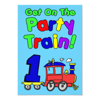 Get On The Party Train 1 Year Old Card