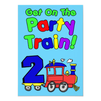 Get On The Party Train 2 Year Old Card