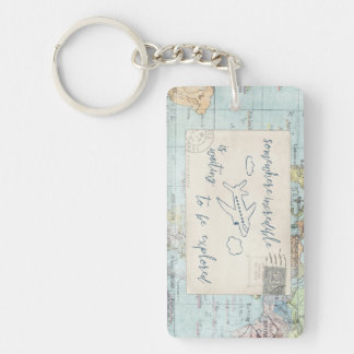 Get out and Explore Quote and Map Keychain