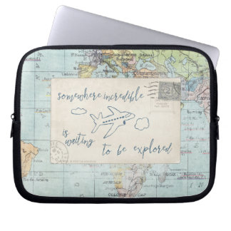 Get out and Explore Quote and Map Laptop Sleeve