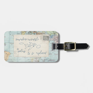 Get out and Explore Quote and Map Luggage Tag
