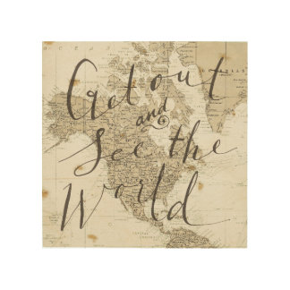 Get Out and See the World Square 4 Wood Prints