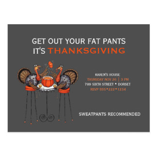Get Out Your Fat Pants Thanksgiving Dinner Postcard