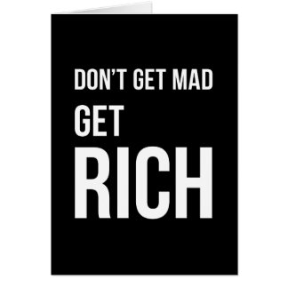 Get Rich Success Motivational Quote White on Black Card